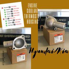 Engine Coolant Thermostat Housing by Dorman Products  Vehicle Fitment:  1999-2009 Hyundai Sante Fe; 1999-2005 Sonata; 2003-2008 Tiburon; 2005-2009 Tucson; 2001-2010 Kia Magentis; 2001-2006 Kia Optima; 2005-2010 Kia Sportage   #hyundai #kia #santefe #sonata #tiburon #tucson #magentis #optima #sportage   #new #aftermarket #autoparts #toronto #ahonautoparts #thermostathousing #dorman