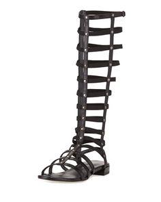 Gladiator Tall Leather Sandal, Black by Stuart Weitzman at Neiman Marcus.