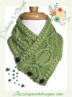 Pistachio Womens Neckwarmer Cable Twist Handknit Caron Simply Soft  Truly an elegant design with lots of twists and cables throughout. I call this pattern the Diamond Twist and it features cables within cables to add wonderful texture. This womens neckwarmer features three Vintage metal buttons in a fashionable design. The rich pistachio color is a new color from Caron Simply Soft and is so inviting. The cable border adds a wonderful finish and creates a beautiful line. Caron Simply Soft…
