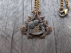 Clockpunk Steampunk Necklace, Silver Watch Movement & Vine Pendant on Antique Brass Curb Link Chain