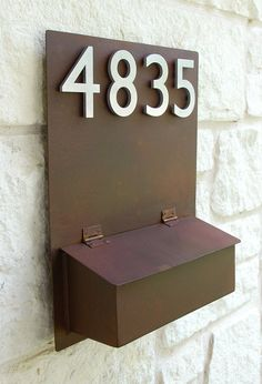 Rustic Modern Mailbox with (4) Brushed Aluminum Address Numbers (Free Shipping)  $275.00