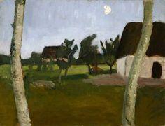 myfairynuffstuff:  Paula Modersohn-Becker- Houses, Birch Trees and Moon, 1902.