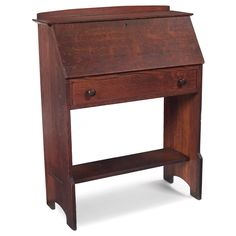 """L and JG Stickley desk fall-front over a single drawer with original wood knobs and lower shelf 32""""w x 14""""d x 40""""h."""