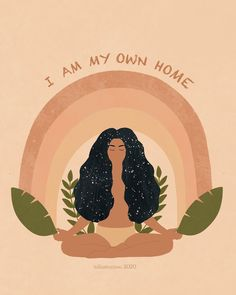 """Goddess Provisions's Instagram profile post: """"I am my own home 🙏✨🌿 Important reminders from @iuliastration 💛"""" Hippie Art, Wall Collage, Art Inspo, Iphone Wallpaper, Art Drawings, Illustration Art, Artsy, Sketches, Illustrator"""