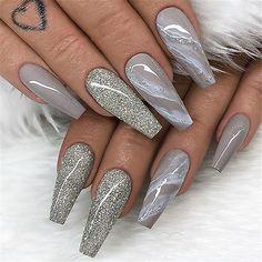 Grey nail designs, nails prom nails, long nails, coffin nails o Acrylic Nails Coffin Glitter, Coffin Nails Ombre, Coffin Shape Nails, Best Acrylic Nails, Stiletto Nails, Marble Nails, Nails Yellow, Gray Nails, White Nails