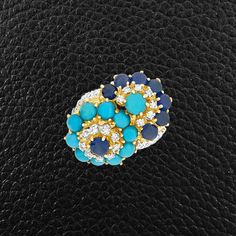Turquoise, Sapphire & Diamond Estate Ring