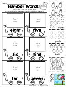 Number Words - Cut and paste!  TONS of FUN, hands-on October printables!