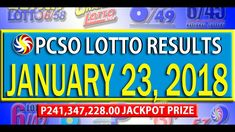 PCSO Lotto Results - January 23, 2018 | 6/58, 6/49, 6/42, 6D, SWERTRES &... Lotto Results, February 12, Youtube, Youtubers, Youtube Movies