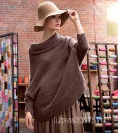 Схема спицами безразмерный пуловер с большим воротом