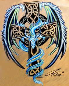 Celtic cross with blue and silver dragon