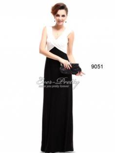 Ever-Pretty Black Elegant V Neck Evening Gown $49.99 #bestseller #eveninggown #black #white