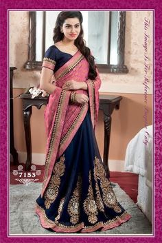 Beautiful half and half brocade and georgette saree - DeesSarees