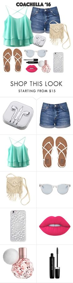 """""""coachella '16"""" by zombiegirl101 ❤ liked on Polyvore featuring PhunkeeTree, Topshop, Billabong, H&M, Sun Buddies, Felony Case, Lime Crime, Marc Jacobs and coachella"""