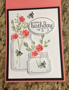 Stampin' Up! Jar of Love. Flowers are watermelon and flamingo