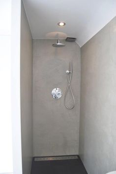 walk-in shower - finished with concrete look plaster and PU sealed for waterproof walls
