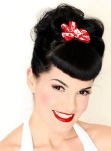 This website has a lot of how-tos for various 1940s hairstyles (the era which inspired modern rockabilly).