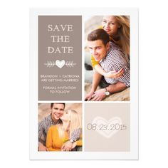 Rustic Heart Doodles | Save The Date Announcement Invitation Card