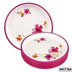 Nayasa Dinner Plates: Buy Nayasa Mf Round Quarter Plate Dlx Set Of 6 Pcs, Pink Online | Oyekitchen.com