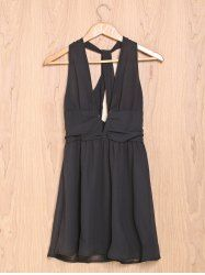 Sexy Plunging Neckline Open Back Sleeveless A-Line Chiffon Dress For Women in Black | Sammydress.com Mobile