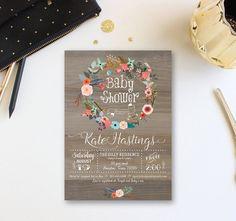 Vintage Wood Baby Shower Invitation, Floral wreath Baby Shower Invite, Baby Girl Winter Shower Invitation, Free Back, Custom WR