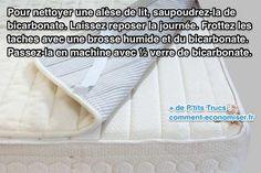 Pour enlever les taches et les odeurs des alèses de lit, utilisez le bicarbonate