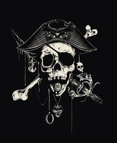locker arrgggh pirates more skull drawing pirate skull tattoo art Pirate Art, Pirate Life, Pirate Flags, Pirate Ships, Pirate Crafts, Davy Jones' Locker, Arte Assassins Creed, Arte Obscura, Black Sails