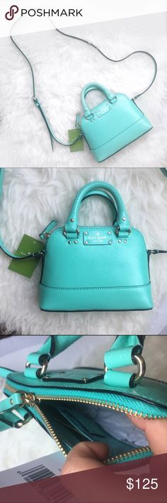 "Kate spade mini Rachelle in Tiffany blue ♠️  gorgeous Kate spade mini Rachelle in a Tiffany blue color. Super cute and fun as a summer bag!  with tags. Length: top 6"" bottom 8"", depth: 2.5"", height: 6"", handles: 6"", strap: 17""-23"" adjustable. No trades and no PayPal. kate spade Bags Mini Bags"