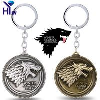 Game of Thrones House Targaryen Emblems Three Headed Dragon Keychain Stark Direwolf Key Holder Souvenir Lannister Lion Key Rings