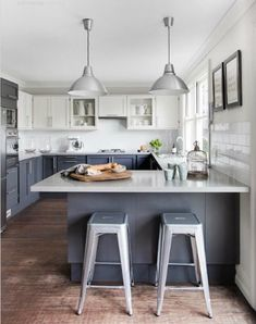 Two tone kitchen / pendant lamps/stools; could be nice w/darker bottom too