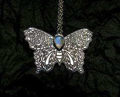 Sterling silver moth pendant  Moonstone moth by WideAwakeSpirit