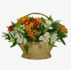 Cesta com astromelias Cesta Mágica Em cada flor, uma surpresa... flores elegantes, delicadas e duradouras.