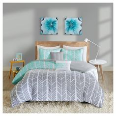 Amanda Comforter Set (Twin/Twin Extra Long) 4pc - Aqua (Blue)