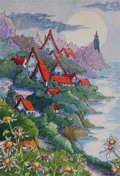 """A Seaside Village Moon Storybook Cottage Series"" - © Alida Akers"
