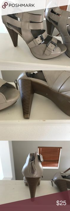 Shoes Tan leather strappy high heels G by Guess Shoes Heels