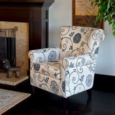 Black & gray floral chair