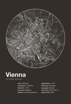 Street Map Art City Print Vienna Austria by EncoreDesignStudios