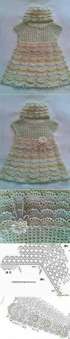 Discover thousands of images about crochet bebe Crochet Dress Girl, Crochet Girls, Crochet Baby Clothes, Crochet For Kids, Crochet Fabric, Knit Crochet, Crochet Patterns, Baby Girl Items, Crochet Toddler