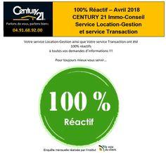 100% Réactif !!!  Vos Services Location/Gestion et Transaction ont été 100% réactifs à toutes vos demandes d'informations !!!  Century21 Immo Conseil à Marseille Chateau Gombert, Pour toujours mieux vous servir…