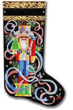 NEEDLEPOINT Handpainted Canvas Christmas STOCKING Kooler Designs Nutcracker 13M
