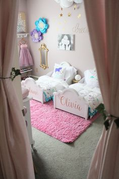 This darling shared girls room is filled to the brim with creative DIY ideas and has plenty of inspiration for your own kid space. Small Room Bedroom, Baby Bedroom, Girls Bedroom, Bedroom Ideas, Fantasy Bedroom, Mermaid Room, Princess Room, Shared Rooms, Project Nursery