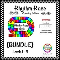 This game is so fun! My kids went nuts AND it was great in centers!  I always need center ideas!   Music Centers: Rhythm Race Counting Edition {BUNDLE} Levels 1-9
