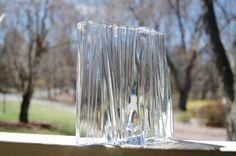 Daum France Crystal Sculpture, Daum Nancy Abstract Modernist Crystal Clear Iceberg