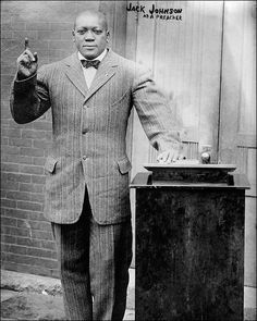 """Portrait of Boxer and Preacher Jack Johnson Portrait photo of preacher and champion boxer John Arthur """"Jack"""" Johnson. Each photograph is then printed on REAL chemically processed archival photo paper. Jack Johnson Boxer, Rugby, American Boxer, Boxing History, Champions Of The World, Black Comics, Boxing Champions, Vintage Black Glamour, Black History Facts"""