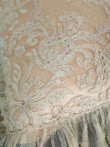 ANTIQUE-Alencon-French-Net-Lace-Pillow-Sham-With-Pillow  Vintageblessings