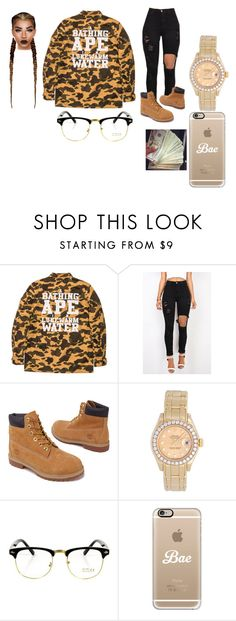 """""""........"""" by xtiairax ❤ liked on Polyvore featuring A BATHING APE, Timberland, Rolex, Casetify and Louis Vuitton"""