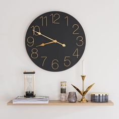 Black and Golden Metal Clock Silvio Hallway Furniture, Sideboard Furniture, Small Furniture, Dining Room Bench Seating, Sun Lounger Cushions, Decorative Storage Boxes, Metal Clock, Trunks And Chests, Lantern Candle Holders