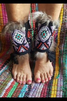 Tribal Boho PAIR of shoes & ankle cuffs / Gypsy Hippie
