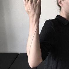 Hand poke seamline tattoo by Jake Haynes. #JakeHaynes #pokeeeeeeoh #handpoke #sticknpoke #linework #seamline #seam #line