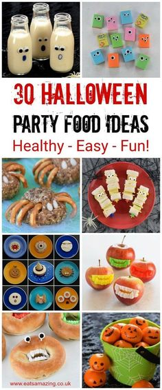 30 Healthy Halloween Party Food Ideas your kids will love - these fun Halloween recipes are all quick easy and perfect for a spooky spread