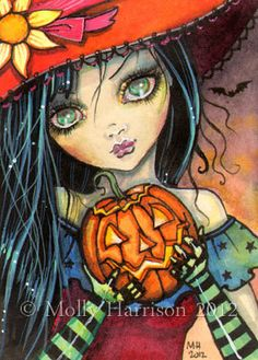 Little Halloween Witch  5 x 7 Giclee Print  by MollyHarrisonArt